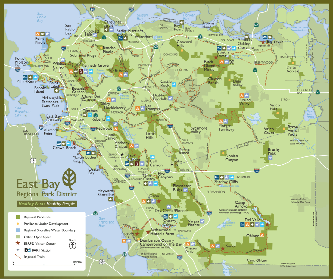 East Bay Regional Park District map