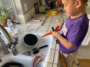 peeling carrots